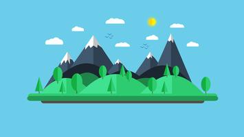 Ilustração plana de vetor da paisagem natural