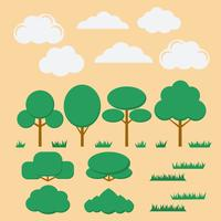 Vector conjunto de árvores planas, arbustos, grama e nuvens