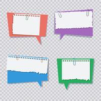 Bolha do discurso colorido com pedaços de papel rasgado branco vetor