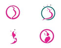 Grávida logotipo modelo vector icon ilustração