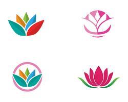 Flores de ícone de lótus de beleza design ilustração