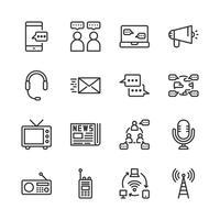 Conjunto de ícones de dispositivo de comunicação. Ilustração vetorial