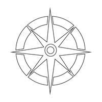 Bússola, ícone, símbolo, sinal vetor