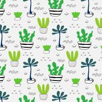Padrão Com Plantas Desenhadas Mão Em Vasos. Fundo de ilustração vetorial.