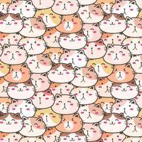 Fundo bonito do teste padrão do vetor dos gatos. Doodle divertido. Ilustração vetorial artesanal.