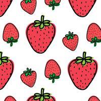 Fundo Do Teste Padrão Da Fruta Da Morango. Ilustração vetorial.