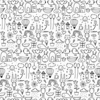 Padrão Com Linha Mão Desenhada Doodle Fundo Bonito Para O Miúdo. Doodle engraçado. Ilustração vetorial artesanal.