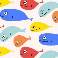 Fundo Colorido Abstrato Do Teste Padrão Dos Peixes. Ilustração vetorial.