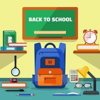 Volta para a escola garoto mochila ilustração com outros equipamentos