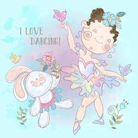 Pequena bailarina dançando com um coelho. Vetor