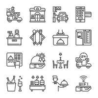 Conjunto de ícones de serviço de restaurante. Ilustração vetorial vetor