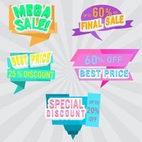Conjunto de rótulos de venda e banner. Design colorido.