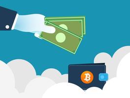 Conceito de finanças de negócios de tecnologia. Fundo de troca de criptomoeda.
