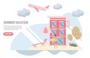 Férias de verão e conceito de viagens com o personagem. Design plano criativo para banner web