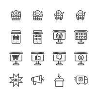 Conjunto de ícones de compras online. Ilustração vetorial vetor