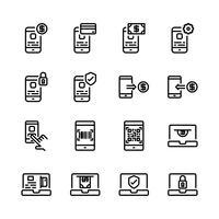 Conjunto de ícones de pagamento on-line. Ilustração vetorial