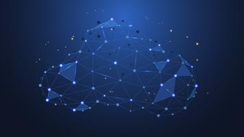 Resumo de pontos e linhas de ligação com a computação em nuvem. tecnologia futurista com formas poligonais ou geométricas. vetor