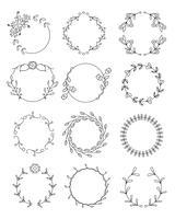 Conjunto de quadros redondos florais de mão desenhada