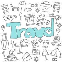 Doodle desenhado de mão do conjunto de viagem vetor