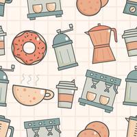 Bonito, seamless, padrão, com, loja café vetor