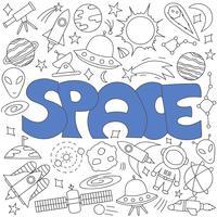 Doodle desenhado de mão do conjunto de espaço