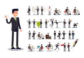 Gestos, ações e poses de trabalhador de escritório vetor