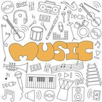 Doodle desenhado de mão do conjunto de música vetor