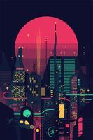 Noite, dystopian, cityscape vetor