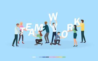 Trabalhos de equipa creativos do negócio do brainstorming e conceito da estratégia empresarial para o desenvolvimento de equipas, o trabalho do trabalho e a colaboração. Personagens de design plano para web banner, material de marketing e apresentação.