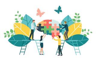 Processo de negócio criativo do brainstorming e conceito da estratégia empresarial para o desenvolvimento de equipas, o trabalho em equipa e a colaboração. Design plano para web banner, material de marketing e apresentação,