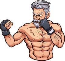 Velho lutador de mma vetor