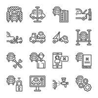 Conjunto de ícones de serviço de carro. Ilustração vetorial