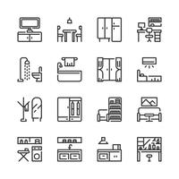 Conjunto de ícones de interiores e móveis. Ilustração vetorial vetor