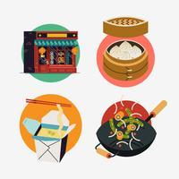 Conjunto de ícones Oriental fast-food vetor