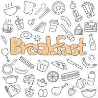 Conjunto de pequeno-almoço mão desenhada doodle vetor