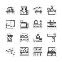 Conjunto de ícones de serviço do Hotel.Ilustração vetorial