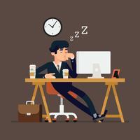 Trabalhador de escritório dormindo no trabalho vetor
