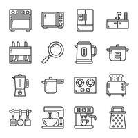 Conjunto de ícones de utensílios de cozinha. Ilustração vetorial vetor