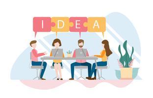 Equipe de pensamento e conceito de brainstorming com o personagem. Design plano criativo para web banner