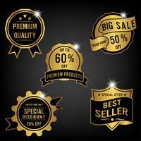 Conjunto de rótulos de venda e banner. Design dourado de luxo.