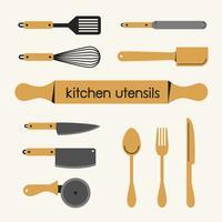 Conjunto de utensílio de cozinha. vetor