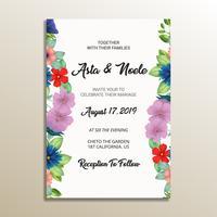 quadro de convite de casamento floral fofo