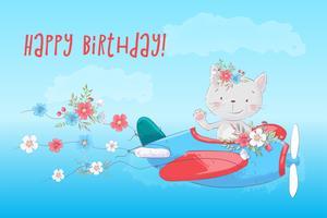 Gato bonito dos desenhos animados no avião com flores, cartaz de impressão de cartão postal para o quarto das crianças.