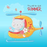Gato bonito dos desenhos animados em um helicóptero, cartaz de impressão de cartão postal para o quarto de uma criança s.