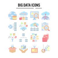 Ícone de grande volume de dados no design plano vetor