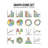 Ícone de gráfico e diagrama no contorno preenchido vetor