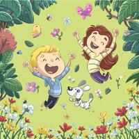 Crianças se divertindo e pulando na primavera