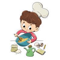 Criança na cozinha preparando uma receita vetor