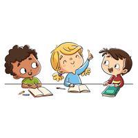 Três crianças, em, classe, tendo divertimento vetor