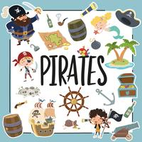 Diferentes elementos relacionados aos piratas vetor